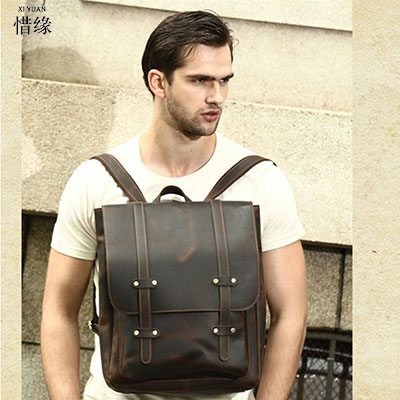 Multifunctional Genuine Leather Backpack Men Backpack Fashion Male School Backpack Travel Bag Large Leather rucksack Big brown
