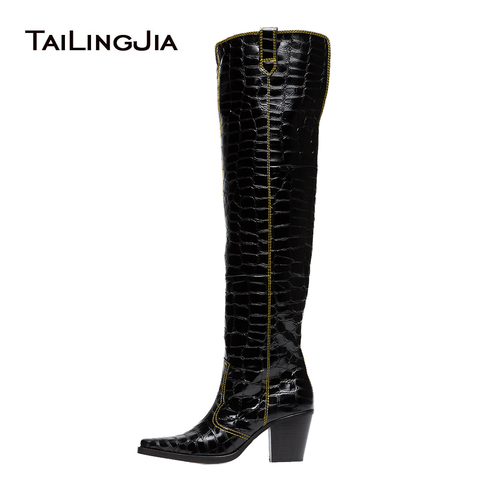 Square Toe Texas Over the Knee Boots Black Patent Crocodile Print Cowboy Thigh High Boots With Block Heel Mid Heel Winter Shoes