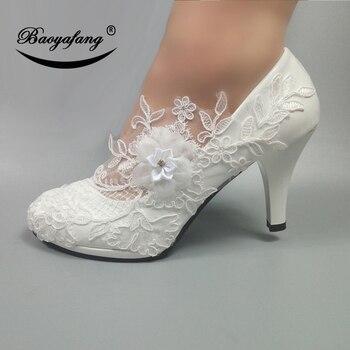 Женские свадебные туфли BaoYaFang, белые туфли-лодочки с цветами, обувь на платформе и высоком каблуке для невесты