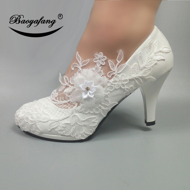 BaoYaFang White Flower Pumps New arrival womens wedding shoes Bride High heels platform shoes for woman ladies party dress shoes