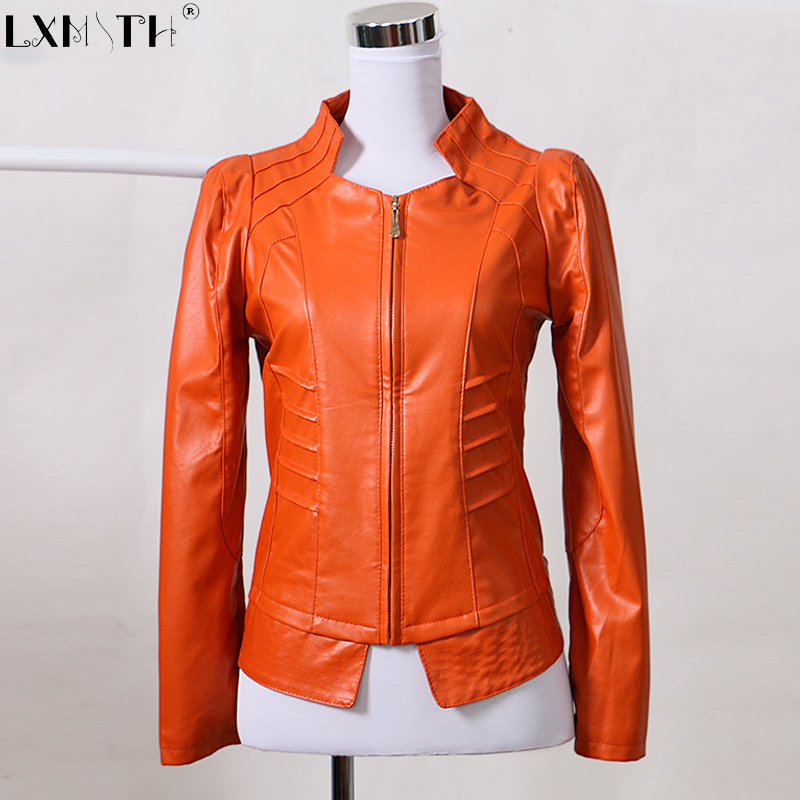 2019 New Spring Plus Size Thin Faux   Leather   Coat Zipper Pu Moto Jacket Women Stand Collar Korean Slim Jackets Woman Orange 3XL