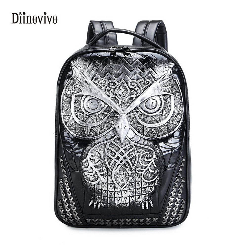 DIINOVIVO New Fashion Style of Personality Owl Backpacks Punk Style Rivet Women Schoolbag Simple Brand Girls Travel Bag WHDV0127 squirrel fashion rivet punk nylon with leather english style girls backpacks doodle classic vogue popular cute women travel bag