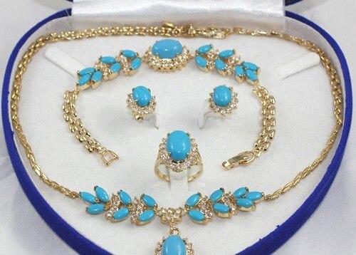 1 set 18 K Or Jaune GP Inlay Turquoise Collier Bracelet Boucle D'oreille Bague Aucune boîte A8