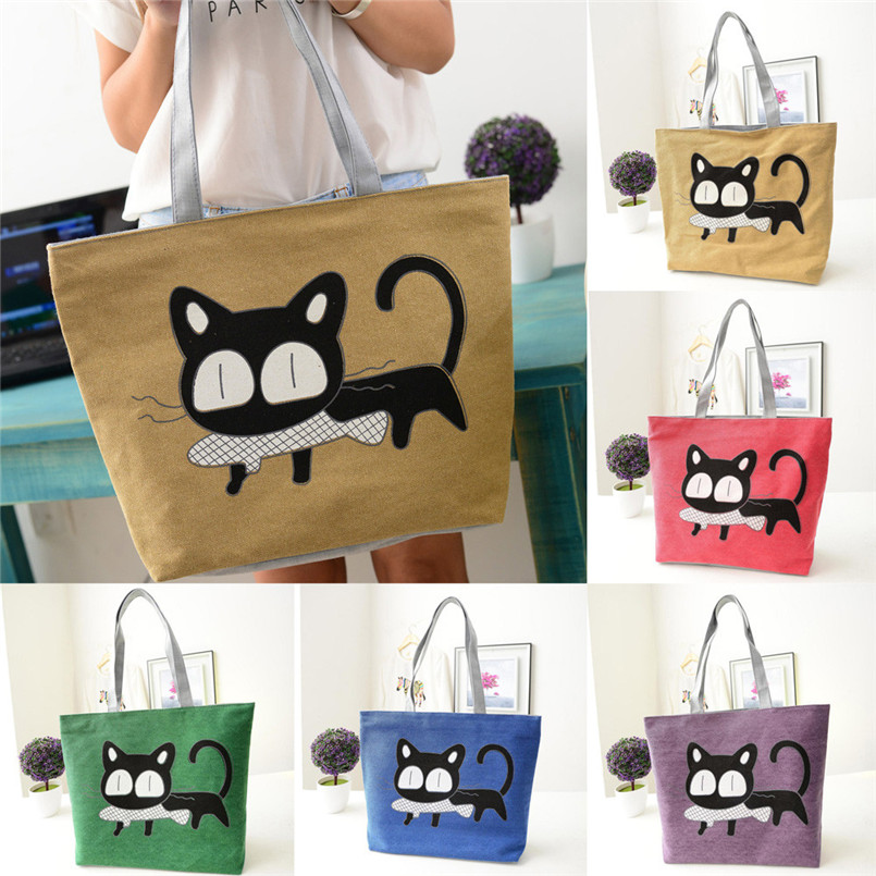 2018 New Arrival Women Canvas Shoulder Bag Cartoon Printing Bag Cute Cat Office Lunch Bag Crossbody Bag bolsos mujer bolsos T