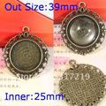 10pcs/Lot~39mm antique Pendant Necklace base Setting/bronze pendant cabochon,base cameo settings Inner:25mm,resin cameo 100pc