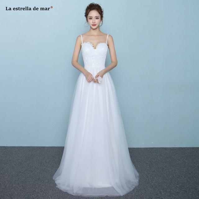 825f0c2dfafaf Robe de mariee 2019 new lace sweetheart Spaghetti Straps a Line white beach wedding  dress long