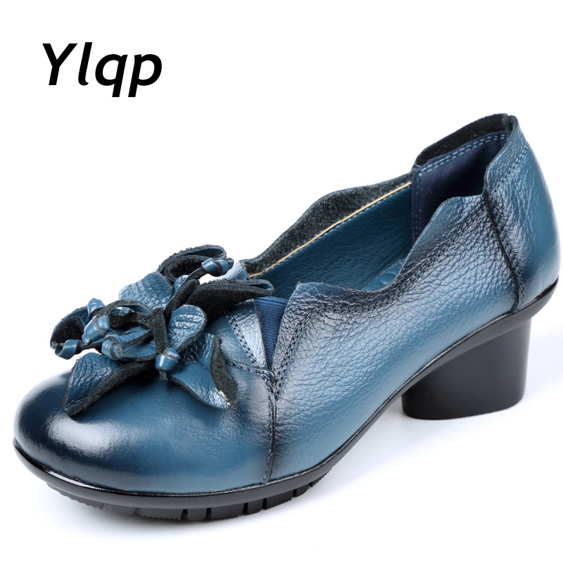 2019 New Arrival Women Pumps Genuine Leather High Heel Shoes Leather Loafers Chunky Heels Buckle Handmade Vintage Style