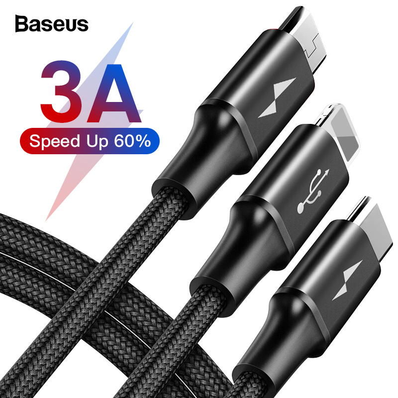 Baseus 3 in 1 USB Cable For iPhone XS Max XR X 8 7 Charging Charger Micro USB Cable 2 in 1 Mobile Phone USB Type c Type-c Cable
