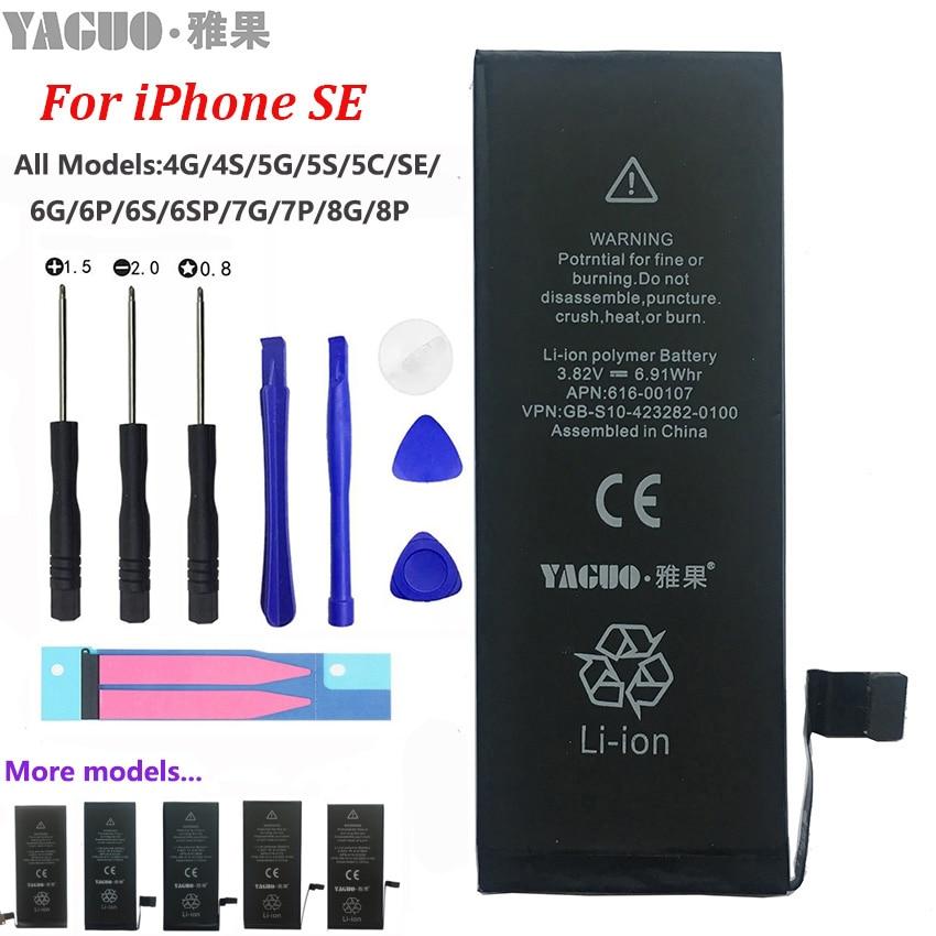 100% novo original aaaaa 1624 mah bateria para apple iphone se iphonese 5se real capacidade zero ciclo livre ferramentas de reparo kit