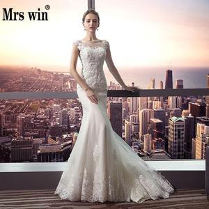 Image 1 - Vestido De Noiva 2020 Mrs Win Die Braut Oansatz Gericht Zug Luxus Spitze Stickerei Meerjungfrau Prinzessin Luxus Hochzeit Kleid F