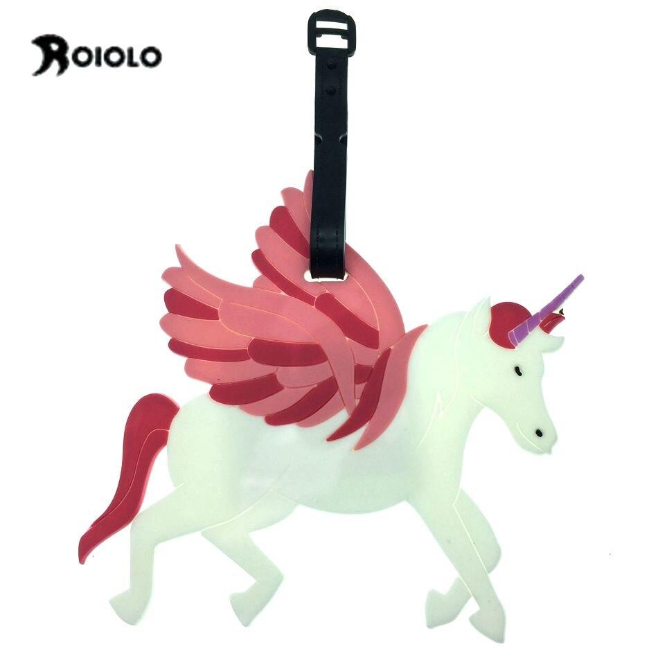 Белая Лошадь Единорог Чемодан теги силикагель ПВХ мягкий Пластик ремни имя ID адрес чемодан багажа крышки Аксессуары для путешествия