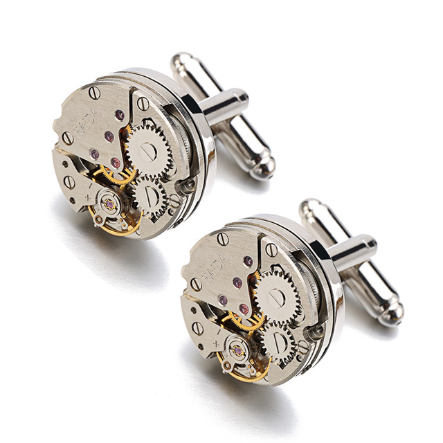 Hot Sale Real Tie Clip Non-Functional Watch Movement Cufflinks for men stainless steel Jewelry Shirt cuffs cuf flinks Wholesale