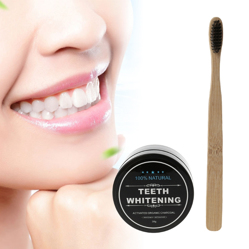 Bamboo Whitening Tooth Powder Organic Activate Charcoal Toothpaste & Toothbrush image