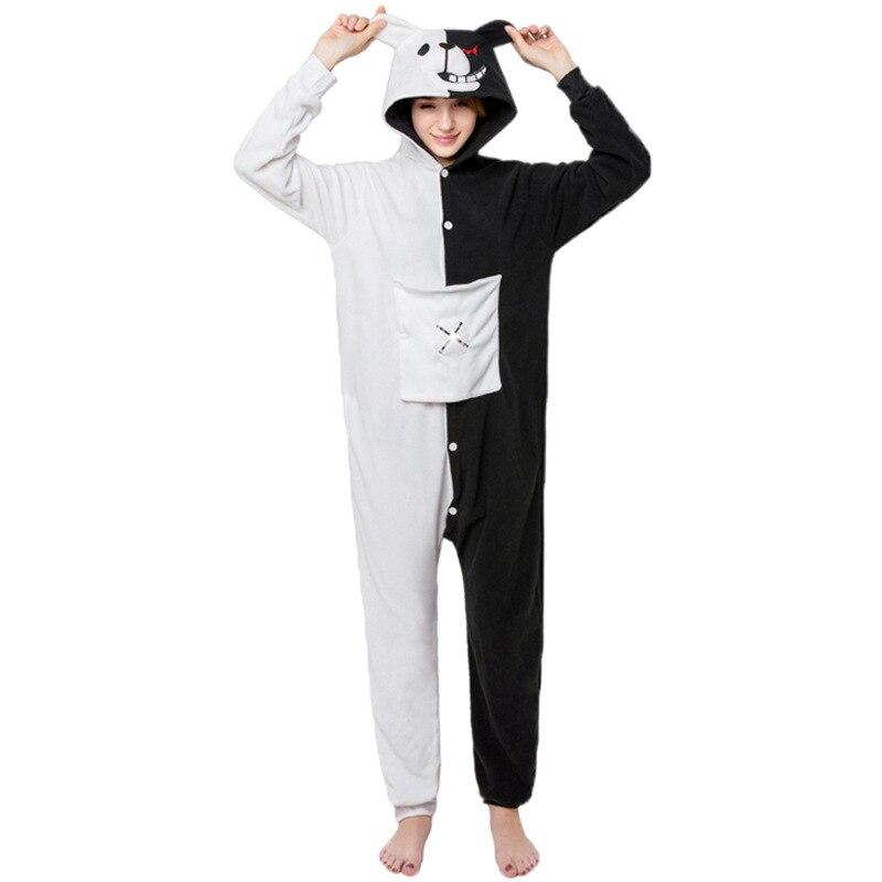 Black White Bear Animal Onesie Danganronpa Monokuma Pajama Women Adult Cartoon Overalls Suit Polar Fleece Sleepwear XL