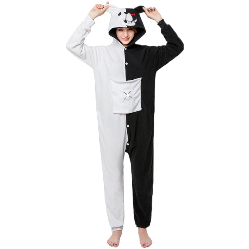 Kigurumi Black White Bear Animal Onesie Danganronpa Monokuma Pajama Women Adult Cartoon Overalls Suit Polar Fleece Sleepwear XL