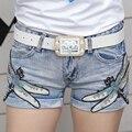 Calções de verão 2016 moda lantejoulas feminino Jeans tendências do hot feminino desenhos animados mulheres Jeans