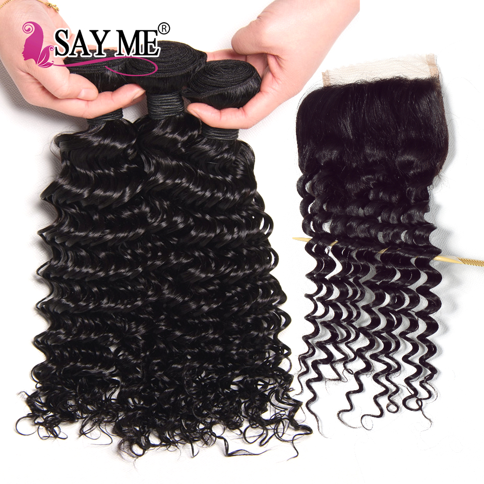 Indian Deep Wave Bundles With Closure 4x4 Closure With Bundles 100% Human Hair Bundles 3 Bundles With Lace Closure Remy SAY ME