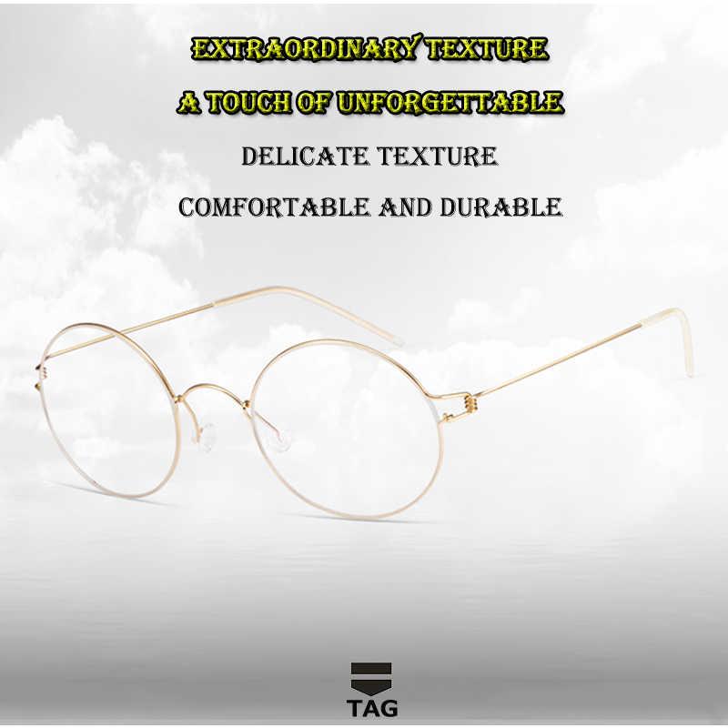 2019: Merek Titanium Kacamata Frame Pria Wanita Bulat Miopia Kacamata Komputer Ultra Ringan Desain Retro Oculos Di Grau De kacamata