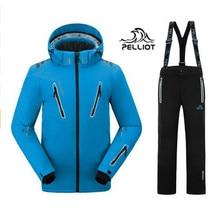 2018 Pelliot мужские лыжные костюмы куртка + брюки мужские водостойкие, дышащие TThermal хлопок-мягкий Сноуборд костюм Мужская лыжная куртка