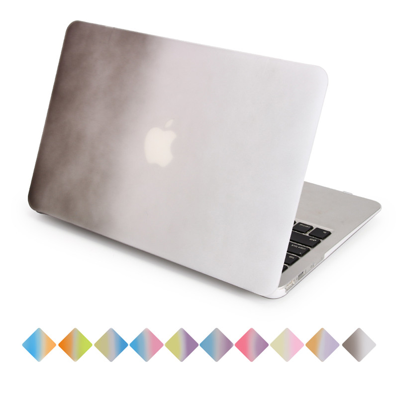 for macbook case rainbow gradient black to white air 11 13 pro 13 15 retina 12 13 15 matte cover full protect laptop bag
