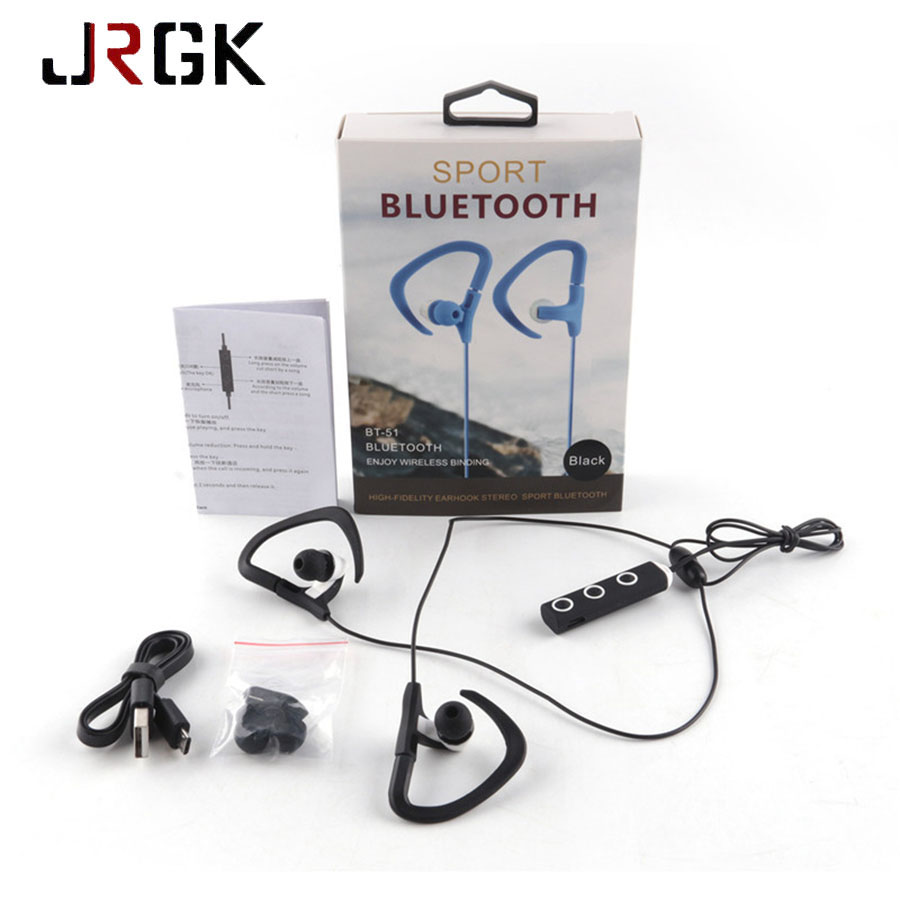 Ear Hook Sports Running Bluetooth Earphones Magnet Earbud Stereo Wireless Headset With Mic For iphone 6 5 Samsung Mobile Phone ear hook wireless bluetooth headset with mic outdoor sports earphone for iphone for samsung android phone remax rb t9 portable