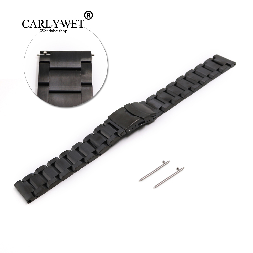 CARLYWET 22mm New Style Black Steel Solid Links Watch Band Strap Bracelet For Samsung Gear S3 smart Released Spring Bar carlywet new style men women black strap silicone rubber replacement watch band belt special popular