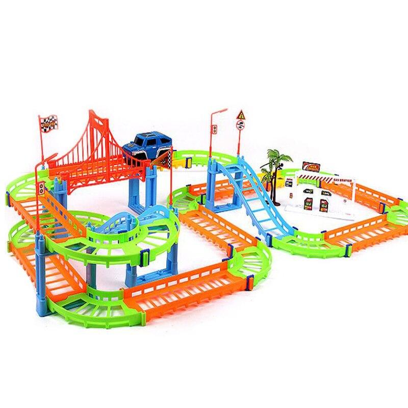 DIY 3D Track Racing Diecasts Car Train Model Color Electric Rail Speed Car Mini Sport Model Fun Assembles Toys Gift For Kids Boy