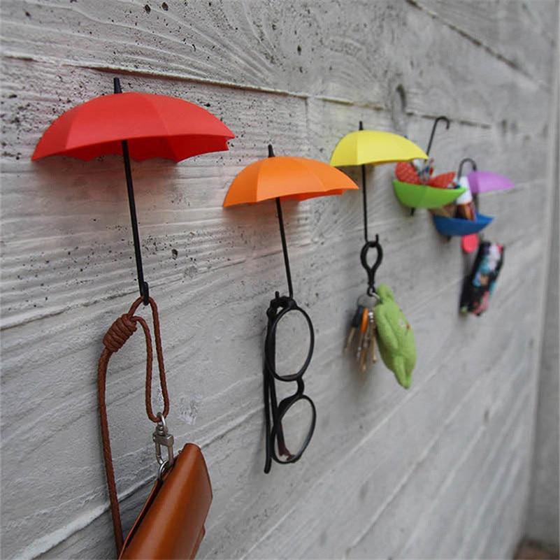 3pcs Creative Umbrella Shaped Storage Hook Free Nail Single Wall Hooks Small Decorative Home Decor Wall Hook Key Hair Pin Holder