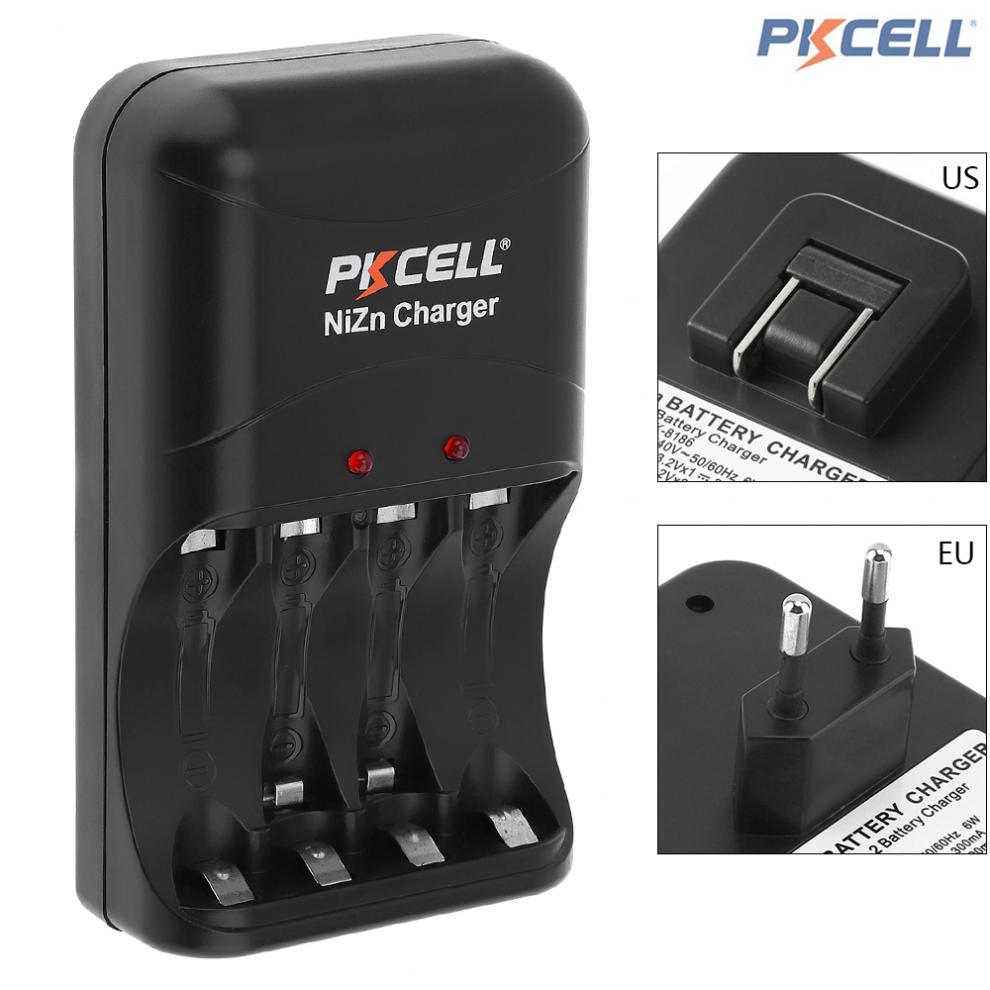 PKCELL 4 Slots Battery Charger 8186 Fast Charge In AA / AAA Ni-Zn Rechargeable Battery with LED Indicator EU / US PLug