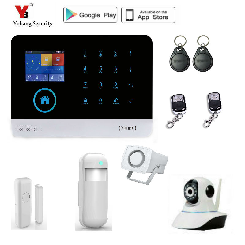 Yobang Security WiFi 2G GSM Home Security Alarm Home Protection GPRS Alarm System APP Control with indoor IP Camera wifi alarm internet gsm gprs sms oled home house security alarm system app control ip camera wifi app integrated in alarm app