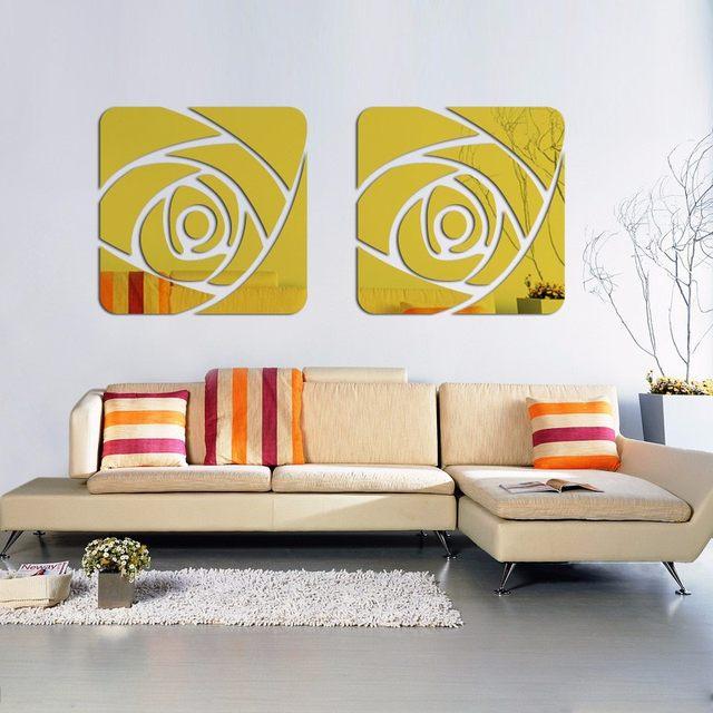 Online Shop 3D Mirror Wall Stickers Modern Decorative Acrylic Wall ...