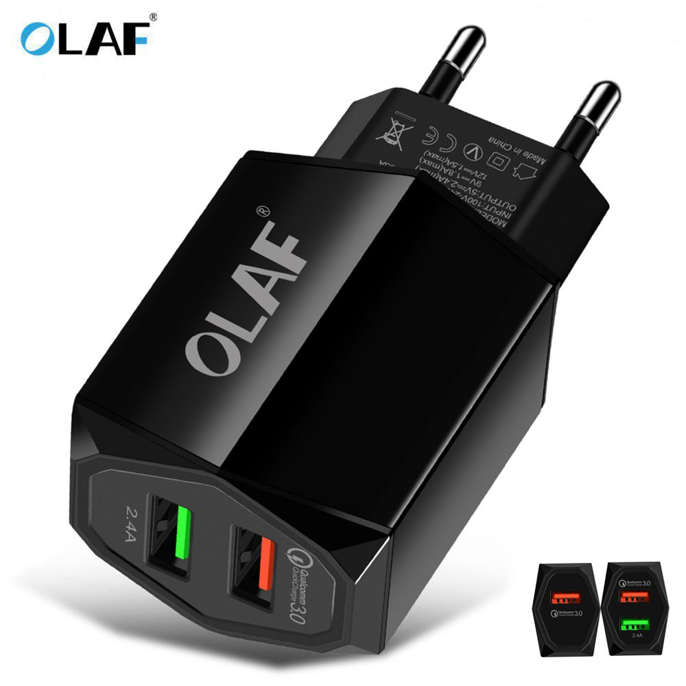 OLAF 1/2 Port EU Plug USB Wall Charger Quick Charge 3.0 Mobile Phone Chargers Travel Adapter For iphone Samsung Xiaomi Universal