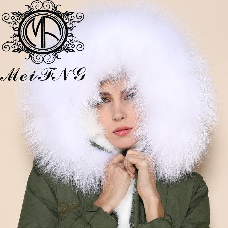 Для женщин Белый Зимняя одежда теплый с капюшоном Подкладка длинным мехом парка кроличий мех пальто