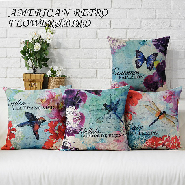 French Country Pillowcases Watercolor Almofadas Cushion Decorative Inspiration Country Throw Pillows Decorative