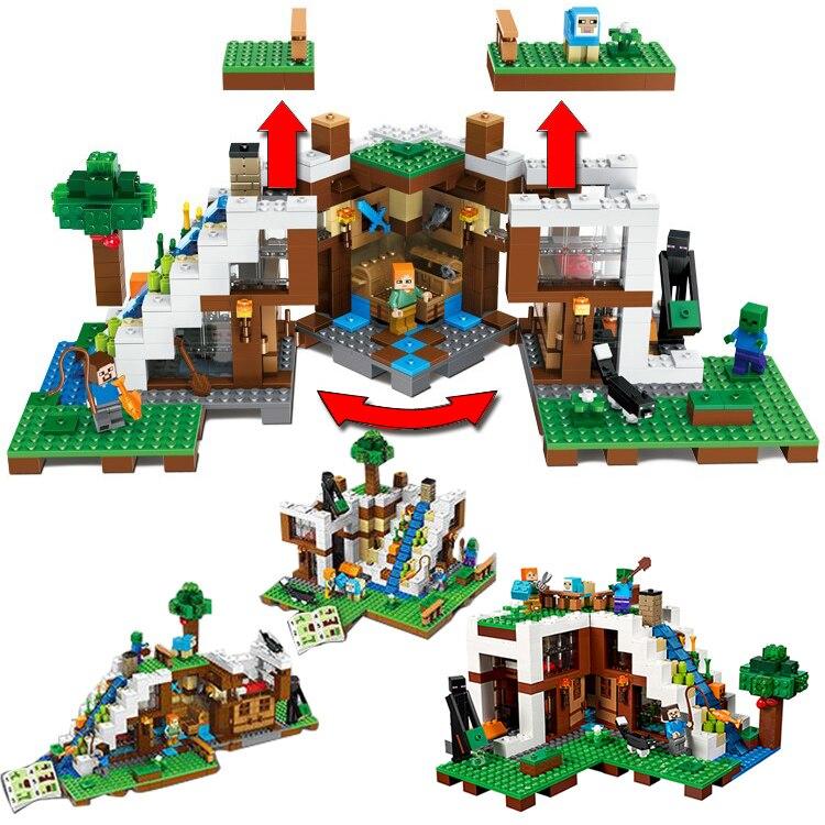 Cascade Base Transformation Legoing My World Minecraft blocs modèles Kits de construction Architecture enfant enfant jouet