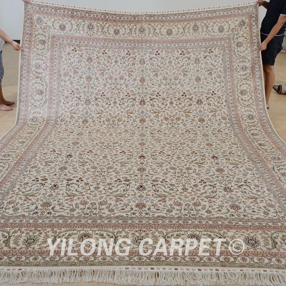 Yilong 9u0026#39;x12u0026#39; Antique Classic Handmade Rug Large Beige Vantage