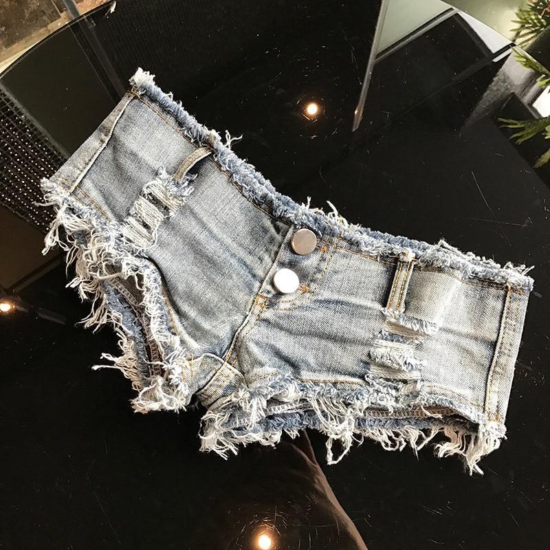 2018 Summer Short Femme Low Waist Thong Jeans For Women Micro Bikini Mini Short Sexy Womens Denim Shorts Night Clubwear Blue New