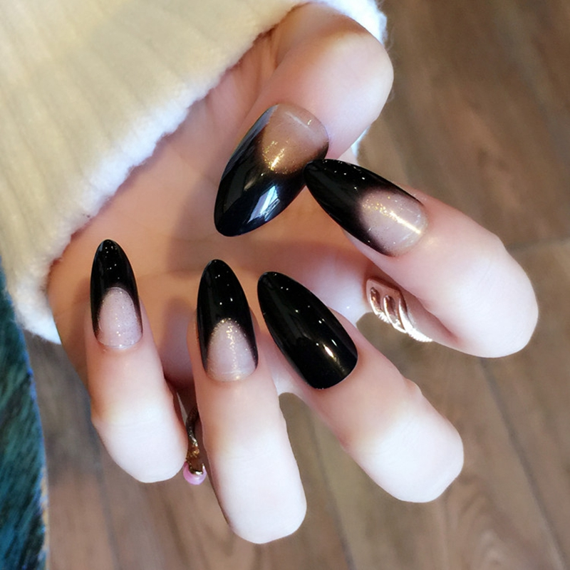 Online Shop Sparkly Black French Acrylic Nails Glitter Decorations ...