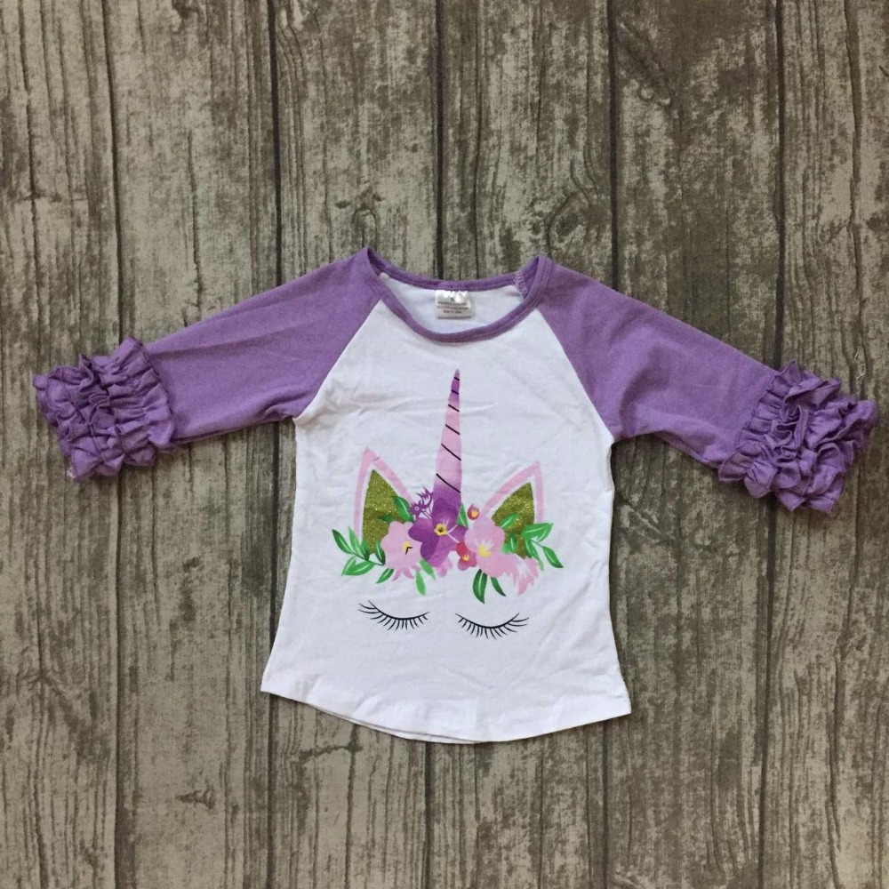 baby girls children Fall raglans clothing girls unicorn raglans with lavender sleeve top shirts t-shirt clothes kids wear