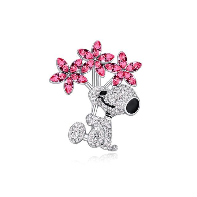 Austria Crystal Brooch ---Flower dog