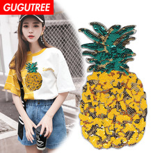 GUGUTREE embroidery Sequins big pineapple patches fruits badges applique for clothing XC-84
