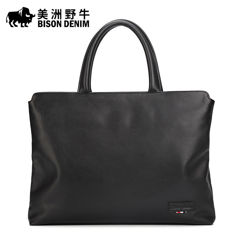 BISON DENIM Brand Handbag Men Briefcase Genuine Leather Shoulder Bags Business Travel Laptop Bag Tote Bag Men's Messenger Bag brand bison denim handbag men genuine leather shoulder bags business travel cowhide crossbody bag tote bag men s messenger bag