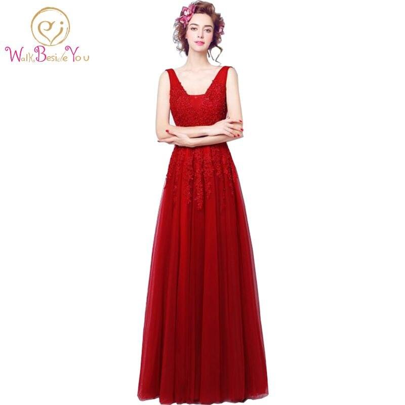 Vestido vermelho Bourgondië Avondjurken vestido formatura 2017 Prom Jassen Backless V-hals Wijn Lace Party Jurken Custom Made