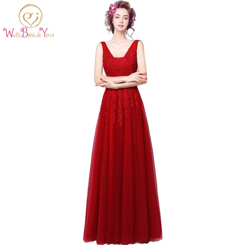 vestido vermelho Burgundy Evening Dresses vestido formatura 2017 Prom Gowns Backless V-neck Wine Lace Party Dresses Custom Made