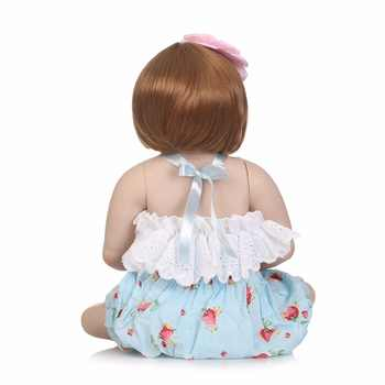 NPK 56cm Full Body Silicone Reborn Baby girl Doll Realistic Newborn Babies Bonecas Child Birthday Gift Play House bath toy