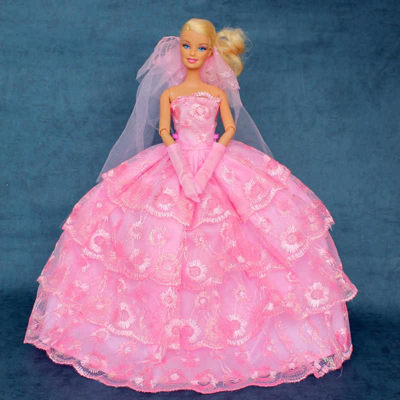 ガウン+手袋+ベール/2015イブニングパーティーピンクウェディングドレスフラワー刺繍レース服花嫁バービー人形