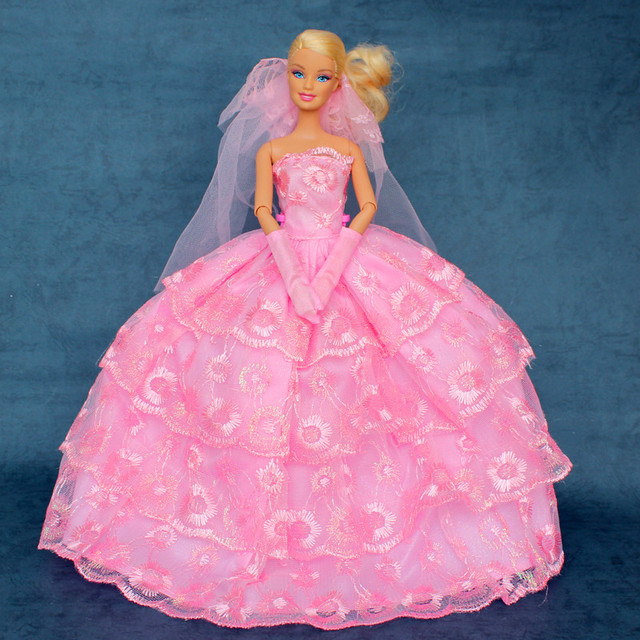 Barbie Pink Wedding Dresses: Gown + Glove + Veil / 2015 Evening Party Pink Wedding