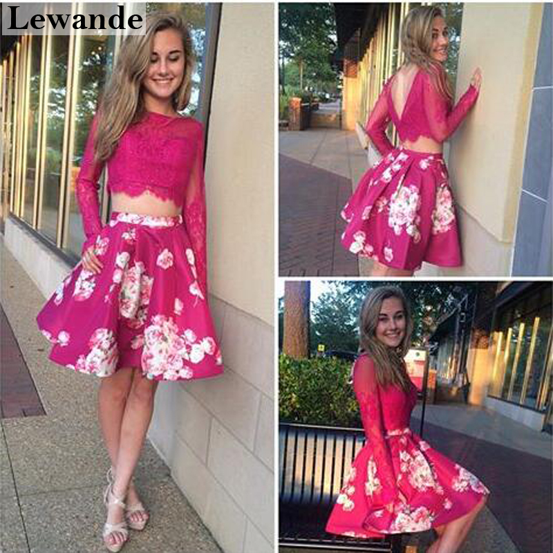1e185d9d721 Lewande A Line 2 Pieces Floral Print Short Homecoming Dresses 32323 Plum  Sheer Lace Flowers Cocktail Skirt Prom Bridesmaid Dress-in Bridesmaid  Dresses from ...