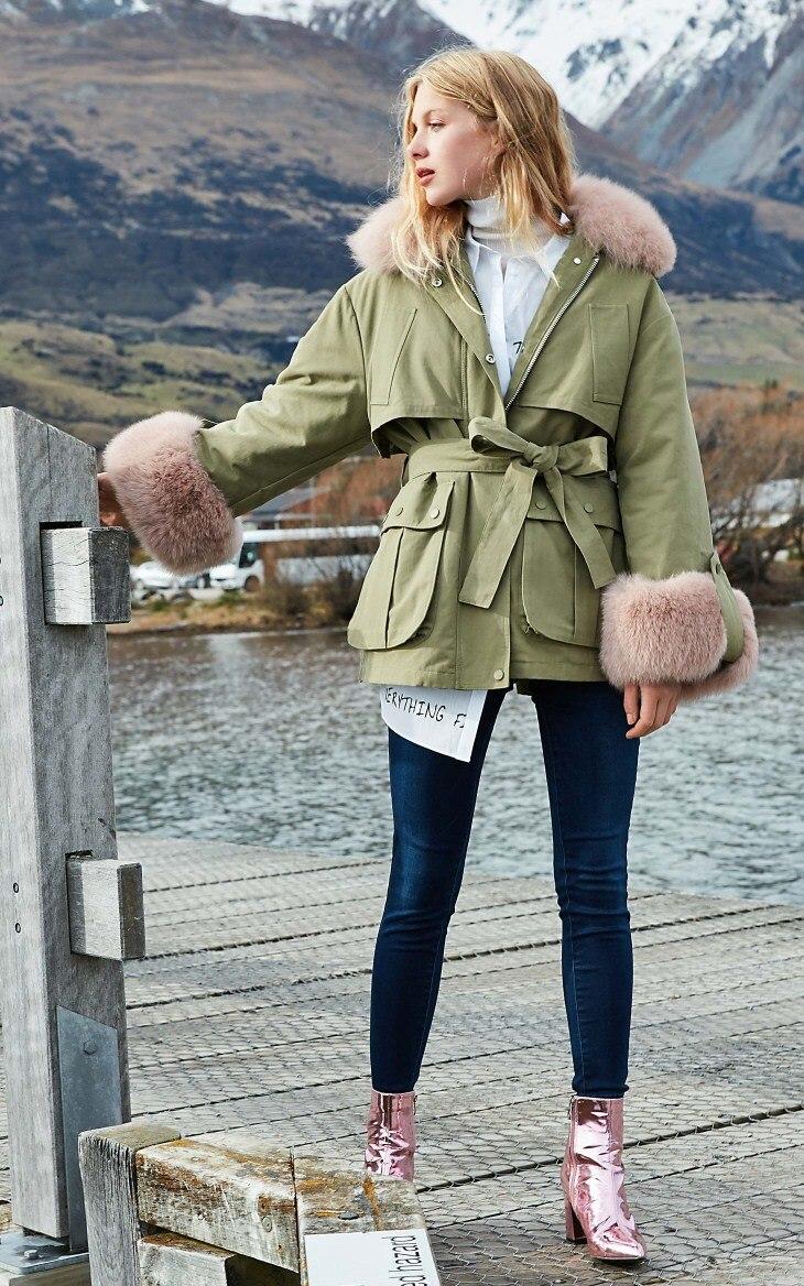 Outwear Femmes Fourrure Femme Canard Réel D'hiver Royaume Blanc De Et 90Duvet uni Manteau 2018 Col Veste QtsxrBdCho