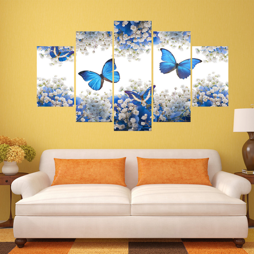 5 Piece Wall Stickers Canvas Print Paintings Picture Butterfly ...